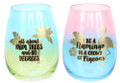 Set of Two Tropical Sayings Ombre Colorful Stemless Wine Glasses