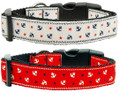 Nautical Anchors Premium Ribbon Dog Collar - Choose Red or White