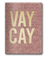 Glittery Rose Gold Vacay Passport Cover with Gold Accents