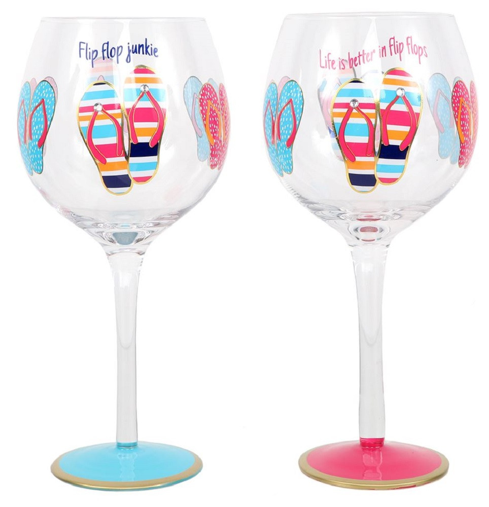 b44722fee6ae ... Hand Painted Wine Glasses with Flip Flop Sayings. Price   29.99. Image 1