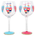 Set of 2 Assorted Flip Flop Hand Painted Wine Glasses with Flip Flop Sayings