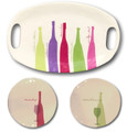 Set of 3 Serving Plates w Colorful Wine Bottles Merlot, Chardonnay, etc.