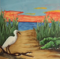 Tile Craft Glossy Beached Egret Ceramic Art Trivet 8 x 8