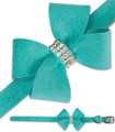Nouveau Bow Ultrasuede and Swarovski Crystal Dog Collar - Bimini Blue