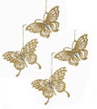 Set of 4 Gold Glitter and Crystal Butterfly Hanging Ornaments