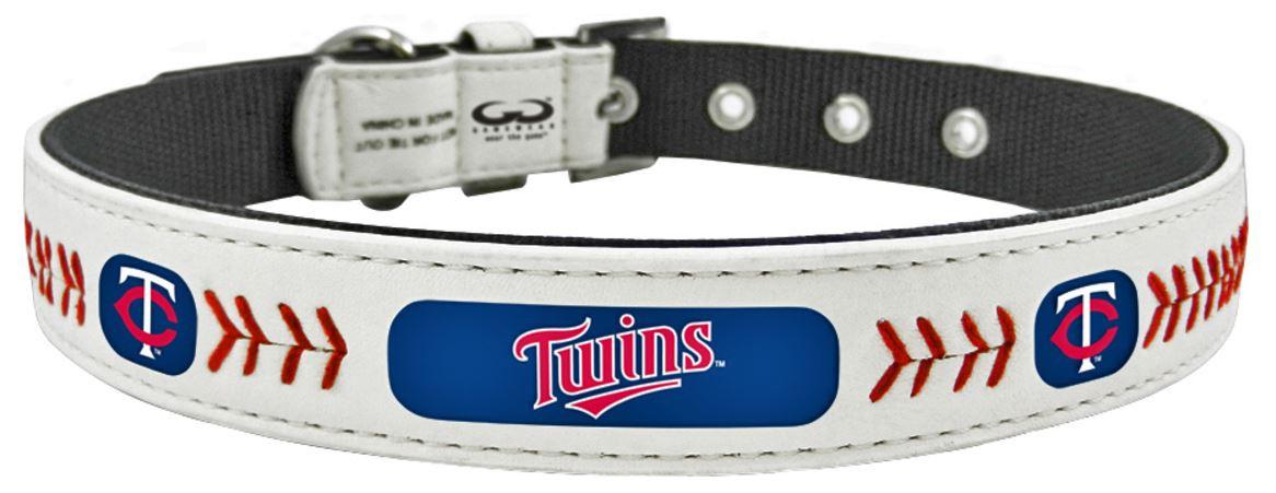 61686062f Minnesota Twins MLB Classic Baseball Leather Dog Collar - Size Small