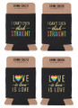 Set of 4 Drink Koozies w Rainbow Colors and Fun Sayings in Gold