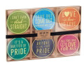 Set of 24 Pride Related Pulpboard Coasters with Fun Sayings in Gold