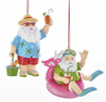 Set of 2 Christmas Holiday Whimsical Colorful Beach Santa Ornaments