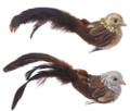 Set of Two Gold and Silver Chickadee Bird Clip Ornaments