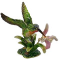 Hummingbird with Pink Lily Figurine Bejeweled Trinket Box w Matching Necklace