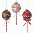 Set of 3 Glass Candy Lollipop Ornaments by Kurt Adler