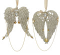 Set of 2 Vintage Glamour Platinum Glittered Angel Wing Ornaments