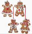 Set of 4 Kurt Adler Gingerbread Claydough & Candy Christmas Ornaments