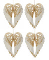 Set of 4  White with Gold Glitter Angel Wing Ornaments by Kurt Adler