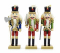 "Set of Three 6"" Wooden Nutcracker Soldier Christmas Ornaments by Kurt Adler"
