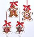 Set of 4 Gingerbread Cookie Cutter Claydough & Candy Christmas Ornaments