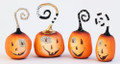 Set of 4 Assorted Whimsical Resin Halloween Pumpkin Ornaments
