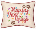 """Happy Paw lidays"" Embroidered 12 x 15 Christmas Holiday Accent Pillow"