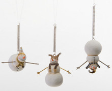 Set Of 3 Black Gold Bungee Jumping Snowmen By 180 Degrees