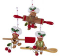 Set of 3 Gingerbread Men w Cooking Utensils Christmas Ornaments