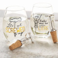 Set of 2 Mud Pie Corkscrew Bottle Stopper and Stemless Wine Glasses