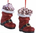 Set of 2 Santa Boots with Candy Christmas Ornaments