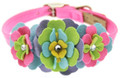"Perfect Pink Fantasy Flowers Ultrasuede 1/2"" Dog Collar w/ Swarovski Crystals"