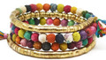 Anju Aasha Recycled Indian Saris Beaded Coil Bracelet