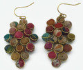 Anju Aasha Recycled Indian Saris Beaded Leaf Cluster Earrings