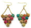 Anju Aasha Recycled Indian Saris Beaded Cluster Triangle Earrings