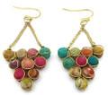 Anju Aasha Recycled Indian Saris Beaded Cluster Triangle Earrings