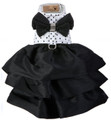 Elegant Black & White Polka Dot Madison Dog Dress Harness w Swarovski Crystals