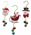 Set of 3 Colorful Santa, Snowman & Sled Jingle Christmas Hanging Ornaments