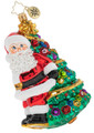 Fine European Mouth-blown Hand-painted Glass Heave Ho! Tree Delivery! Santa Christopher Radko Christmas Ornament