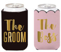Set of 2 Insulated Can Koozie Cover for Weddings- The Boss & The Groom