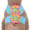 Tiffi Blue Tinkie Fantasy Flower Dog Ultrasuede Harness w Swarovski Crystals