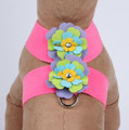 Perfect Pink Tinkie Fantasy Flower Dog Ultrasuede Harness w Swarovski Crystals