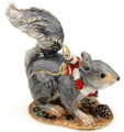 Christmas Holiday Squirrel Bejeweled Box with Matching Necklace