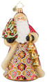 European Mouth-blown Hand-painted Glass Santa Jingle for All to Hear Christopher Radko Christmas Ornament