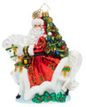 Fine European Mouth-blown Hand-painted Glass Santa Galloping into Christmas Christopher Radko Ornament