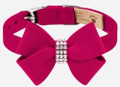 "Burgundy Nouveau Bow Ultrasuede and Swarovski Crystal 1/2"" Collar by Susan Lanci Size XSmall"