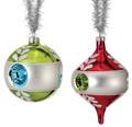 "Set of 6 3-4.5""Glass Retro Vintage Reflector Ball Ornaments by Regency International"