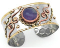 Anju Amethyst Swirl Mixed Metal Brass & Copper Cuff Bracelet