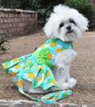 Pineapple Luau Hawaiian Dog Harness Dress with Matching Leash by Doggie Design - Sizes S - M