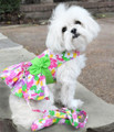 Pink Hawaiian Floral Dog Harness Dress with Matching Leash by Doggie Design - Sizes S - M