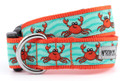 Cute Happy Red / Orange Crabs Premium Dog Collar by Worthy Dog