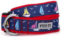 Colorful Nautical Sailboats on Navy Blue Premium Dog Collar by Worthy Dog