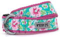 Watercolor Floral Pink & Teal Premium Dog Collar by Worthy Dog
