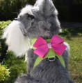 Kiwi Green Tinkie's Garden Ultrasuede Velcro Harness & Pink Nouveau Bow and Swarovski Crystals